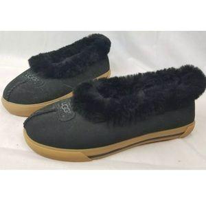 Ugg Black Leather & Sheepskin Rubber Sole Slipper